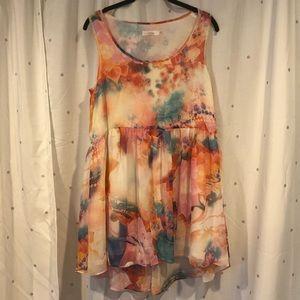 Multicolored High Low Dress, XS, Floral, summer